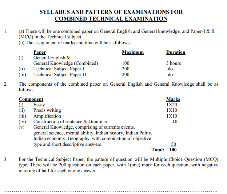 NPSC Combined Technical Services Exam Pattern